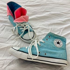 Converse overlapped & layered fabric blue shoes